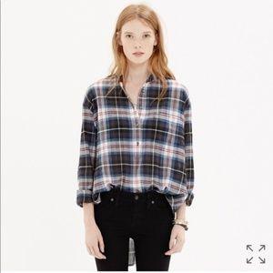 MADEWELL Collarless Popover Shirt Wheaton Plaid S
